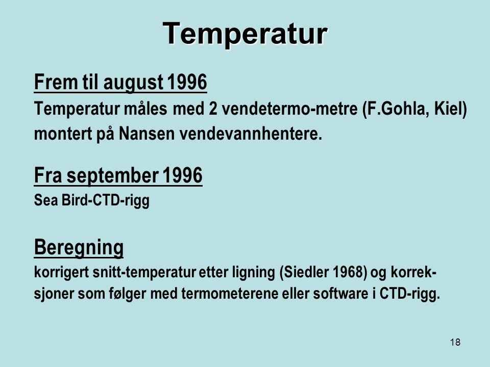 Temperatur Frem til august 1996 Fra september 1996 Beregning
