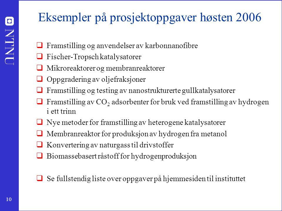 Eksempler på prosjektoppgaver høsten 2006