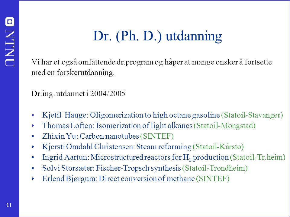 Dr. (Ph. D.) utdanning Vi har et også omfattende dr.program og håper at mange ønsker å fortsette. med en forskerutdanning.