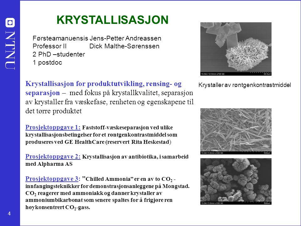 KRYSTALLISASJON Førsteamanuensis Jens-Petter Andreassen. Professor II Dick Malthe-Sørenssen.