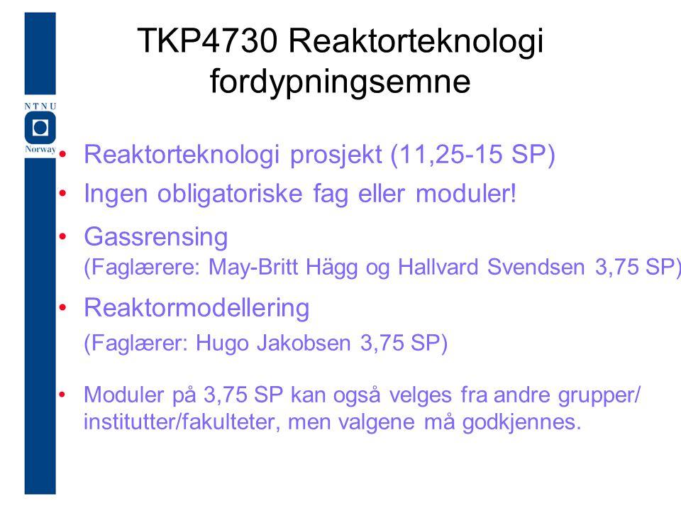 TKP4730 Reaktorteknologi fordypningsemne