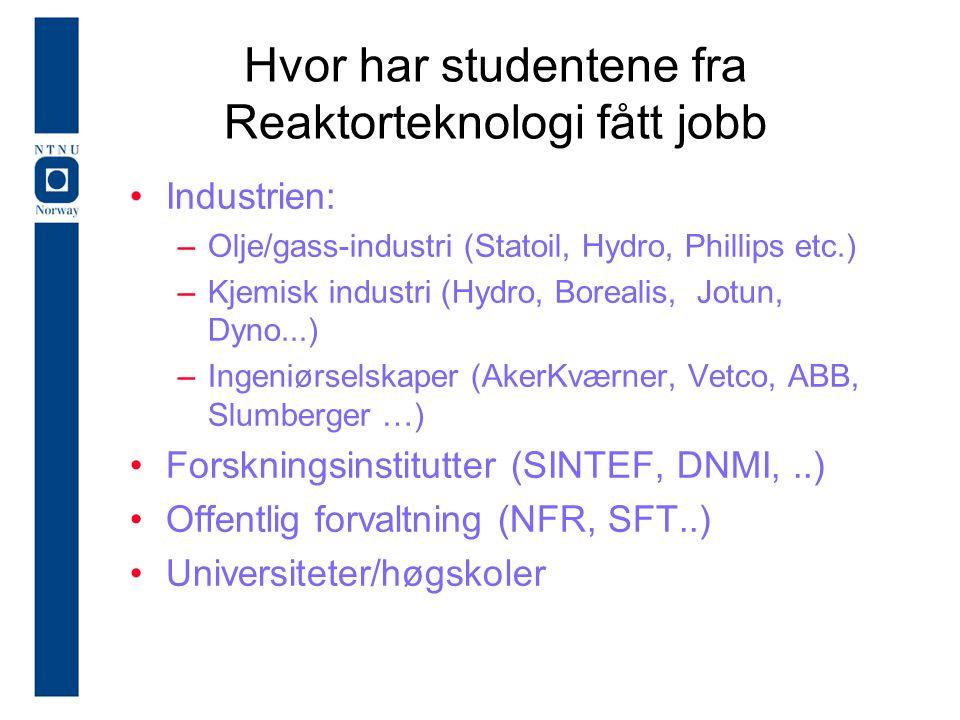 Hvor har studentene fra Reaktorteknologi fått jobb