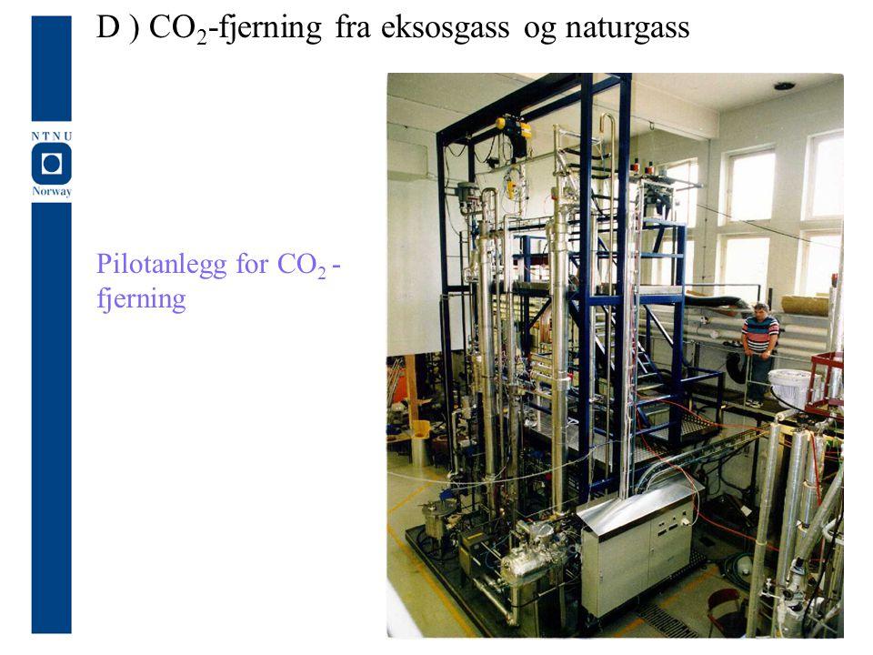 D ) CO2-fjerning fra eksosgass og naturgass