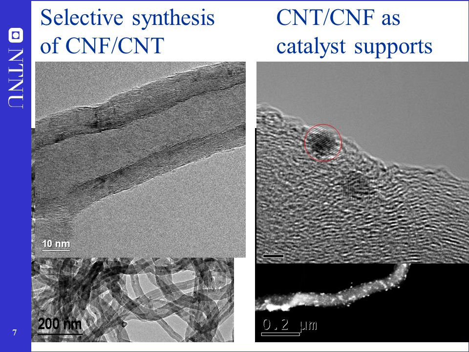 Selective synthesis of CNF/CNT