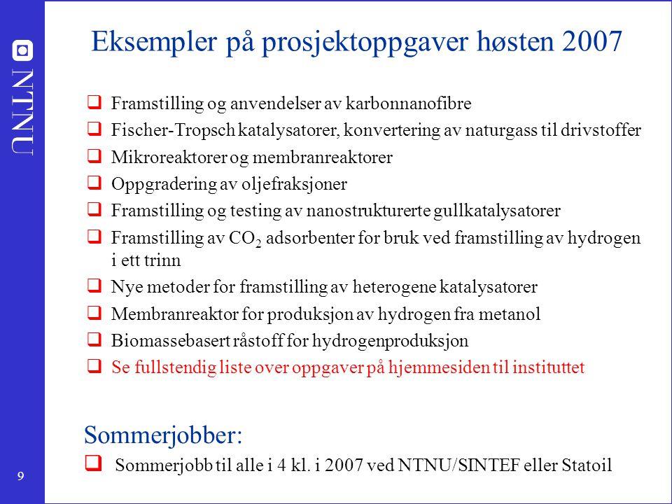 Eksempler på prosjektoppgaver høsten 2007