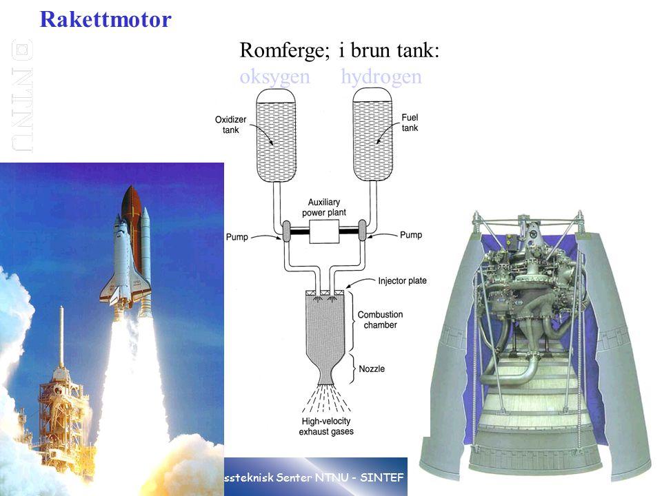 Rakettmotor Romferge; i brun tank: oksygen hydrogen