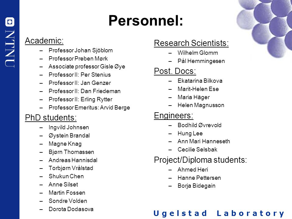 Personnel: Academic: PhD students: Research Scientists: Post. Docs: