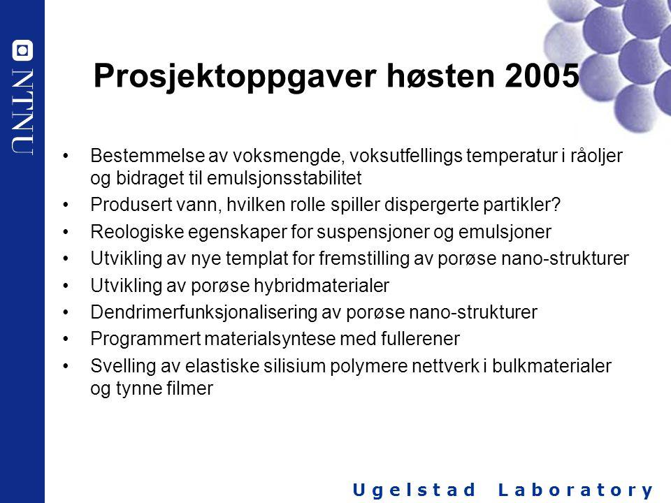 Prosjektoppgaver høsten 2005