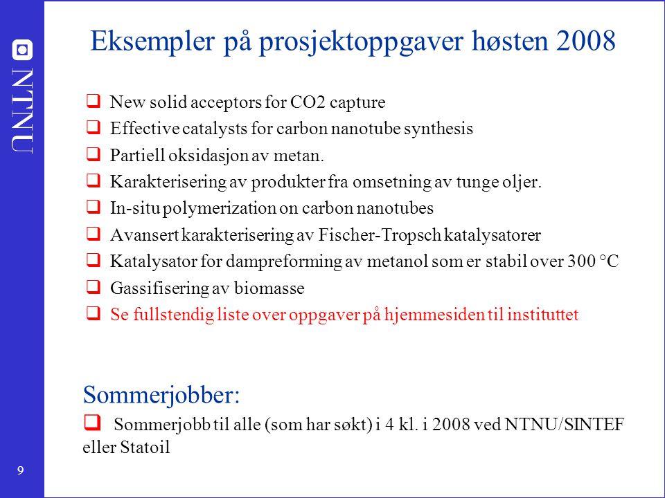 Eksempler på prosjektoppgaver høsten 2008