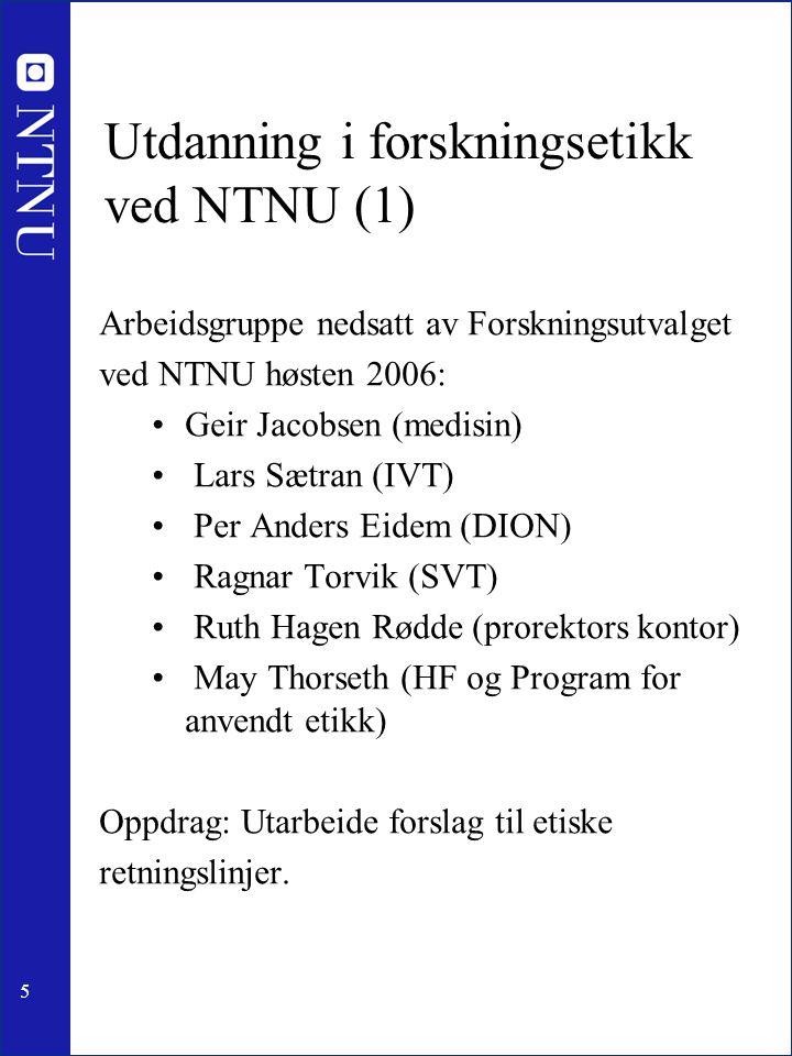 Utdanning i forskningsetikk ved NTNU (1)