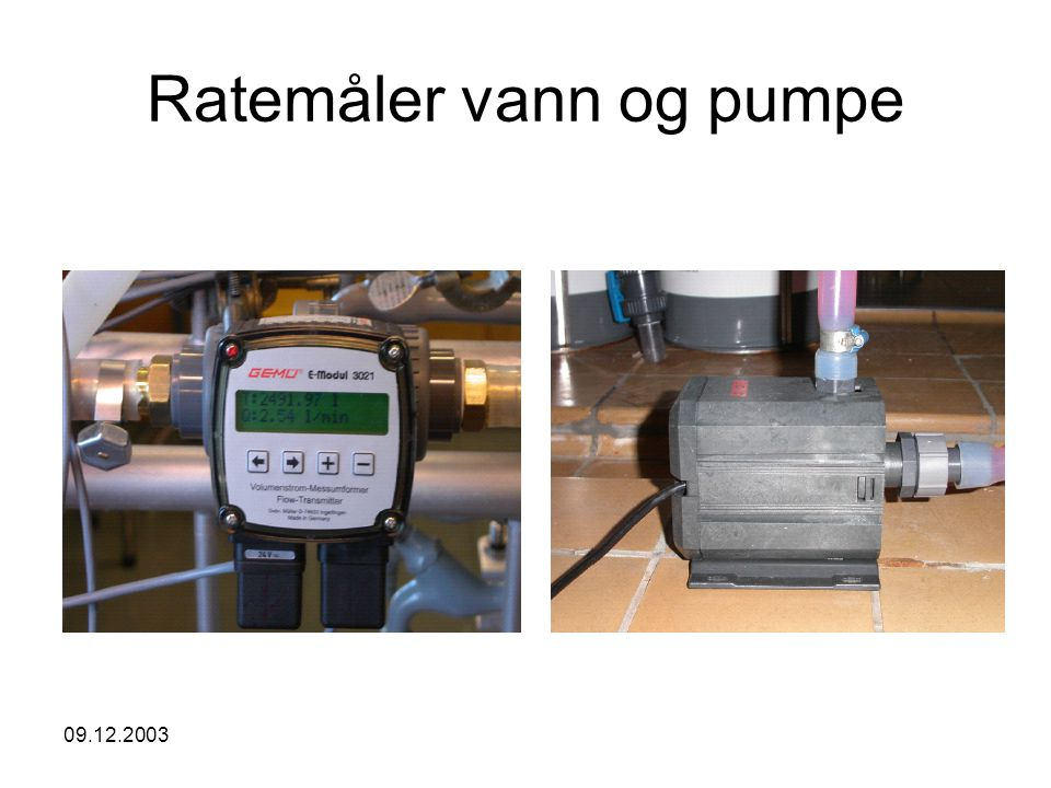 Ratemåler vann og pumpe