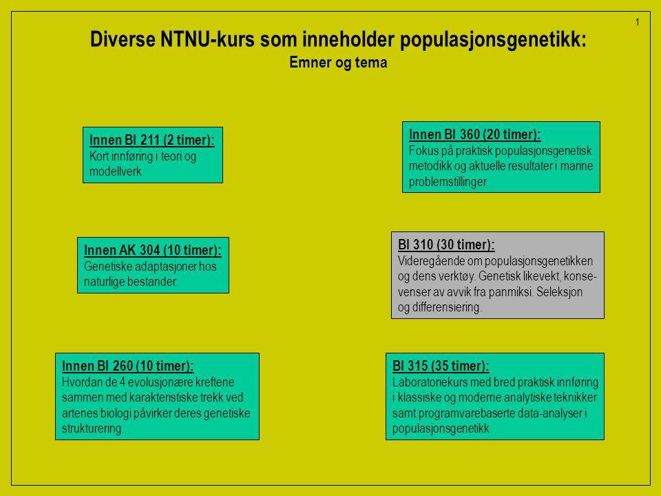 Diverse NTNU-kurs som inneholder populasjonsgenetikk: