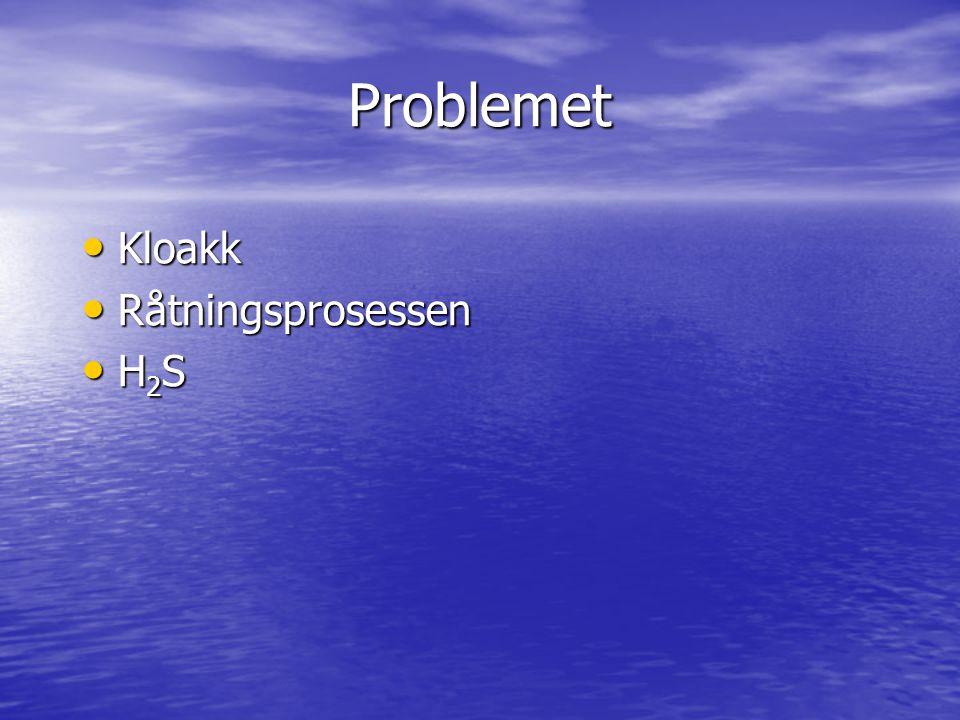 Problemet Kloakk Råtningsprosessen H2S (*) Problemet: