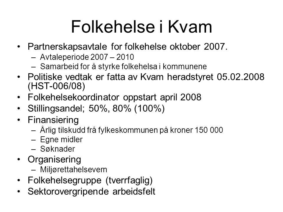 Folkehelse i Kvam Partnerskapsavtale for folkehelse oktober 2007.