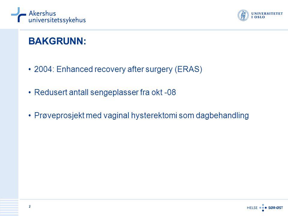 BAKGRUNN: 2004: Enhanced recovery after surgery (ERAS)