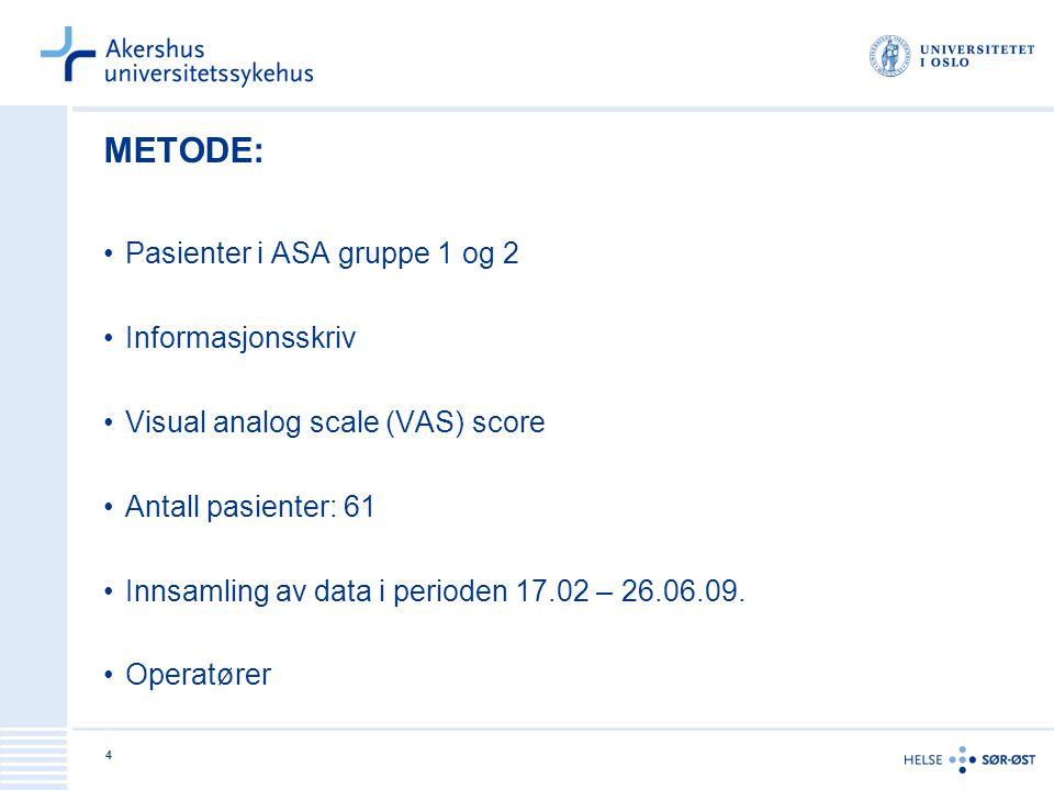METODE: Pasienter i ASA gruppe 1 og 2 Informasjonsskriv