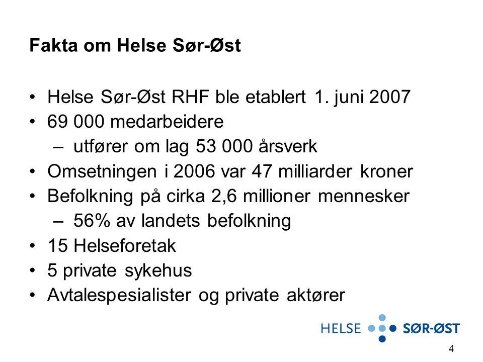 Fakta om Helse Sør-Øst Helse Sør-Øst RHF ble etablert 1. juni 2007. 69 000 medarbeidere. utfører om lag 53 000 årsverk.