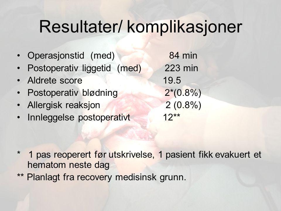 Resultater/ komplikasjoner