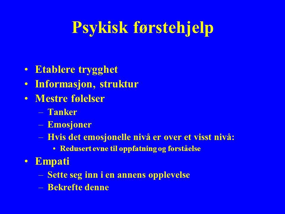 Psykisk førstehjelp Etablere trygghet Informasjon, struktur