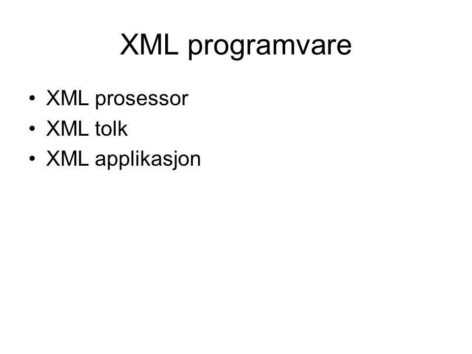 XML programvare XML prosessor XML tolk XML applikasjon