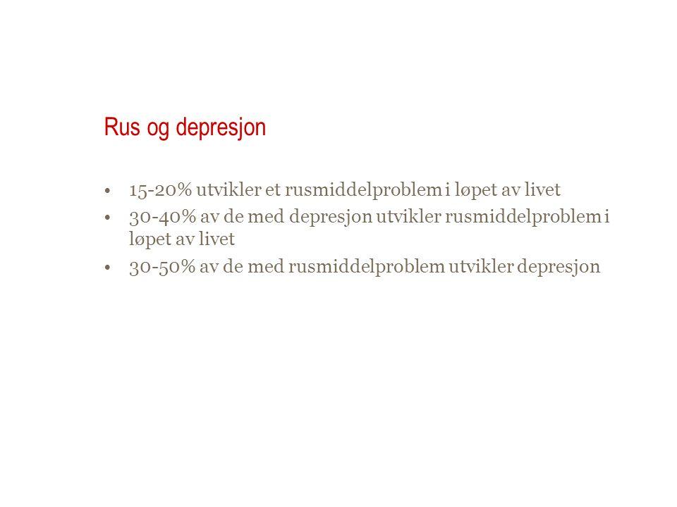 Rus og depresjon 15-20% utvikler et rusmiddelproblem i løpet av livet