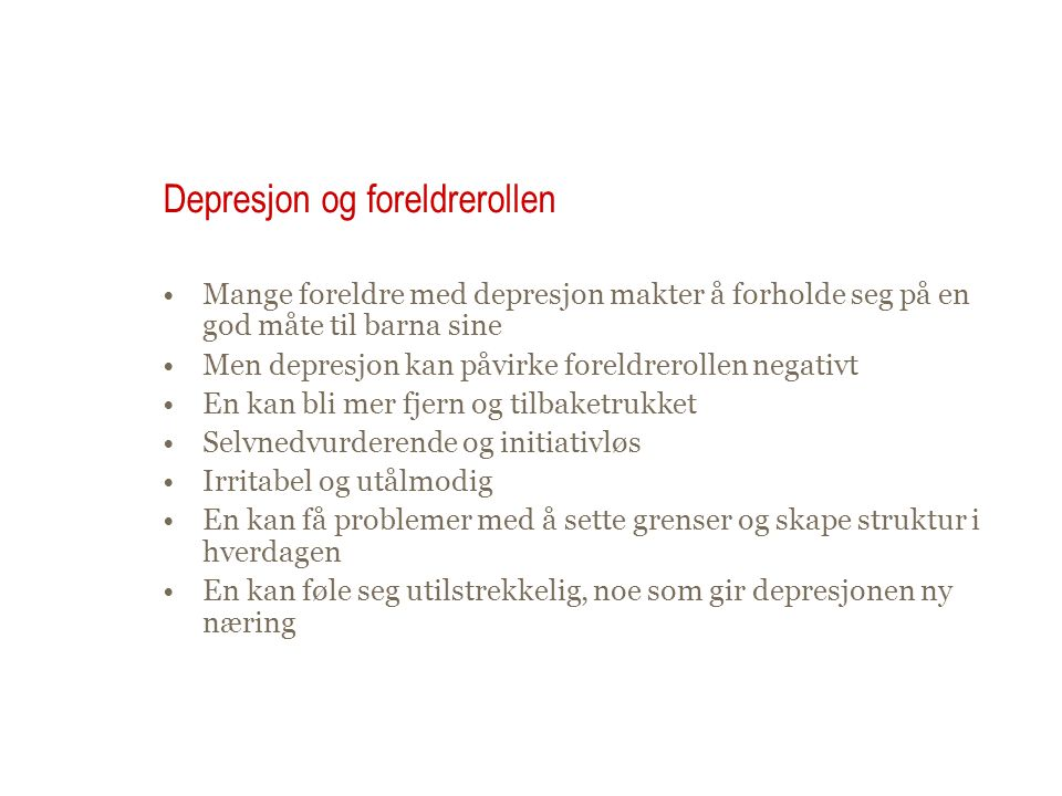 Depresjon og foreldrerollen