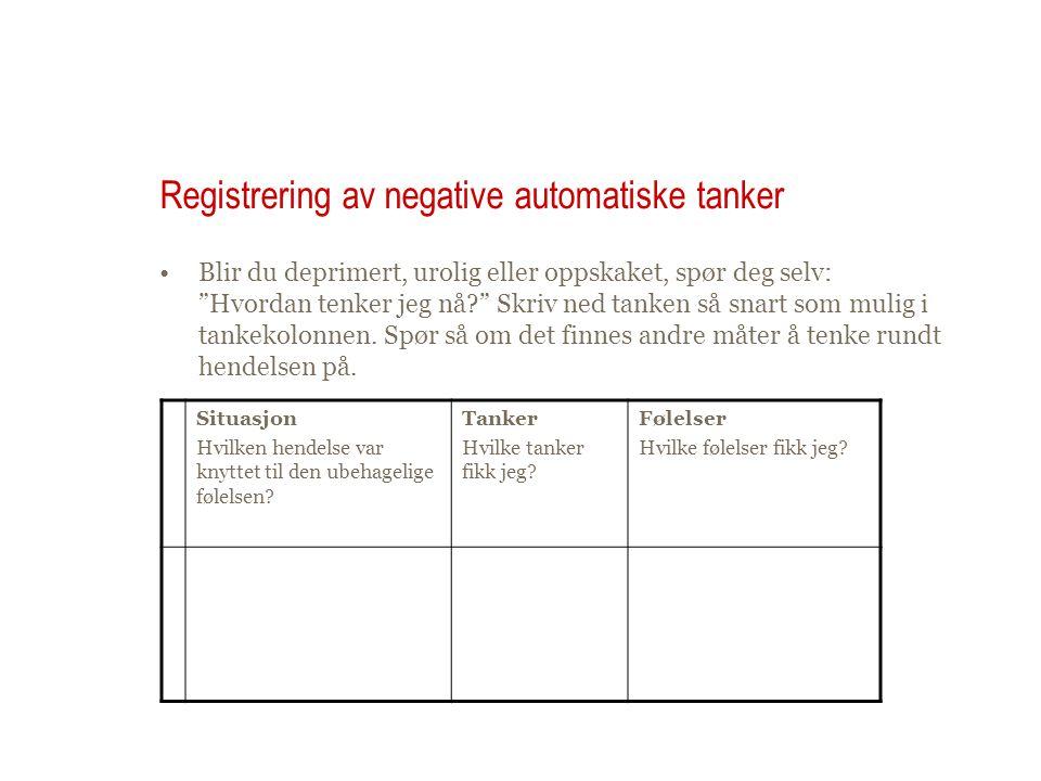 Registrering av negative automatiske tanker