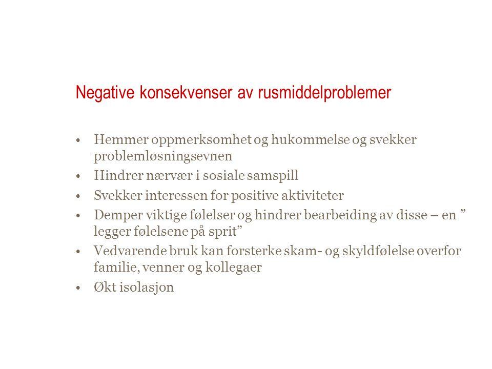 Negative konsekvenser av rusmiddelproblemer