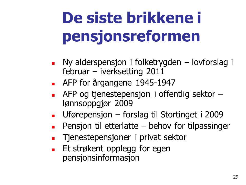 De siste brikkene i pensjonsreformen