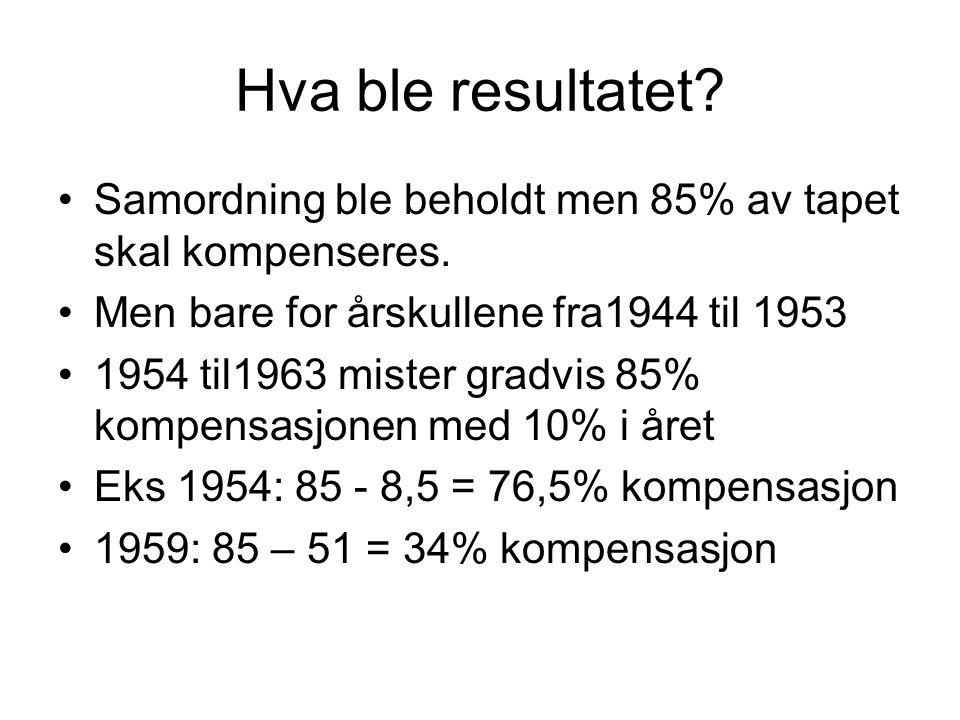 Hva ble resultatet Samordning ble beholdt men 85% av tapet skal kompenseres. Men bare for årskullene fra1944 til 1953.