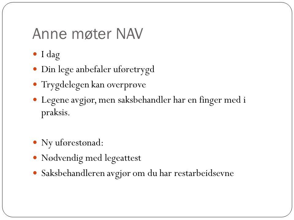Anne møter NAV I dag Din lege anbefaler uføretrygd