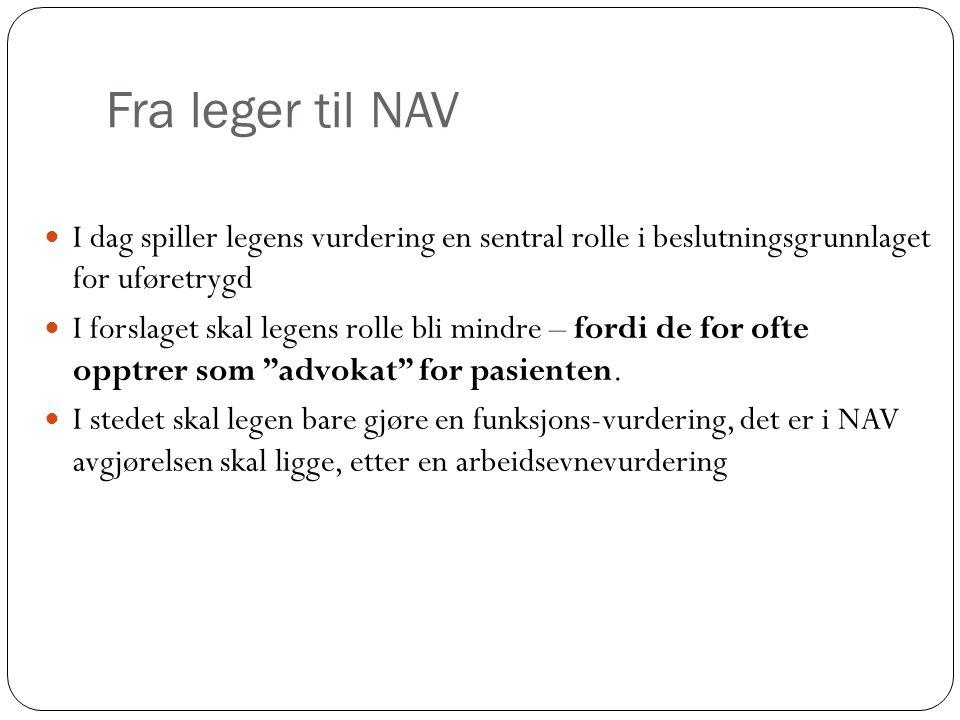 Fra leger til NAV I dag spiller legens vurdering en sentral rolle i beslutningsgrunnlaget for uføretrygd.