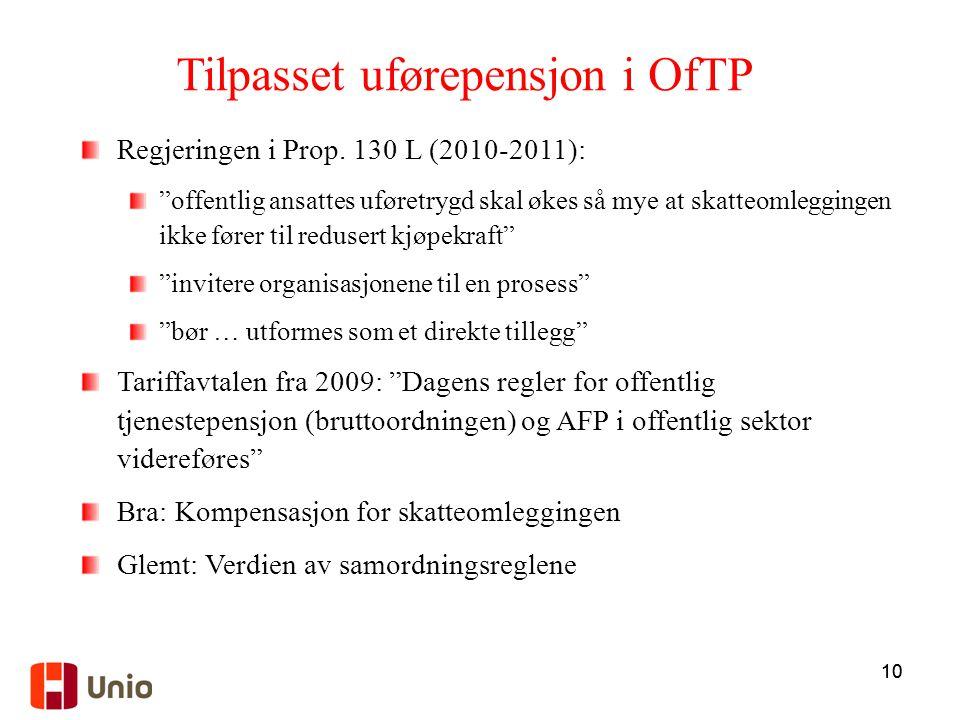 Tilpasset uførepensjon i OfTP