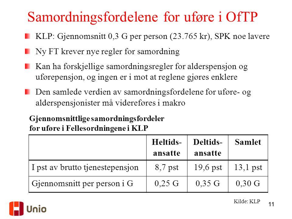 Samordningsfordelene for uføre i OfTP