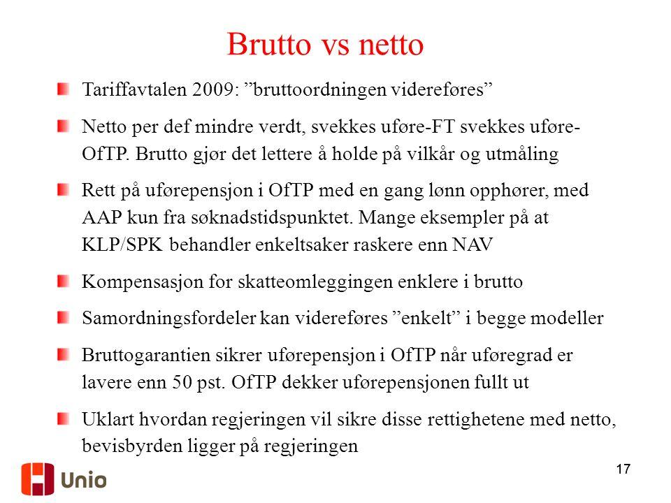 Brutto vs netto Tariffavtalen 2009: bruttoordningen videreføres