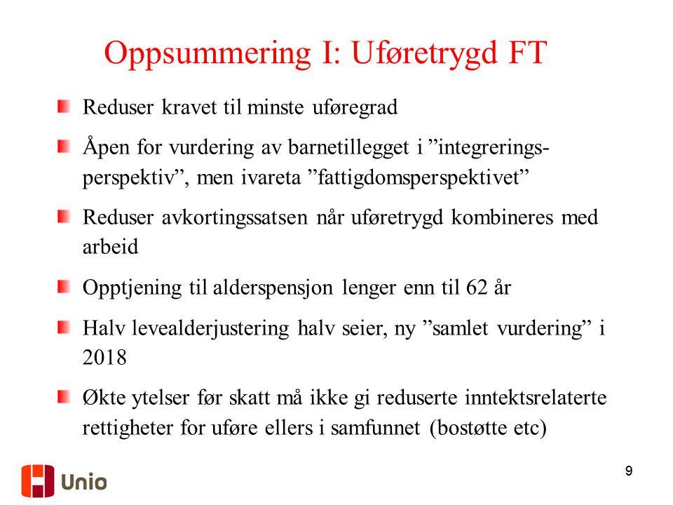 Oppsummering I: Uføretrygd FT