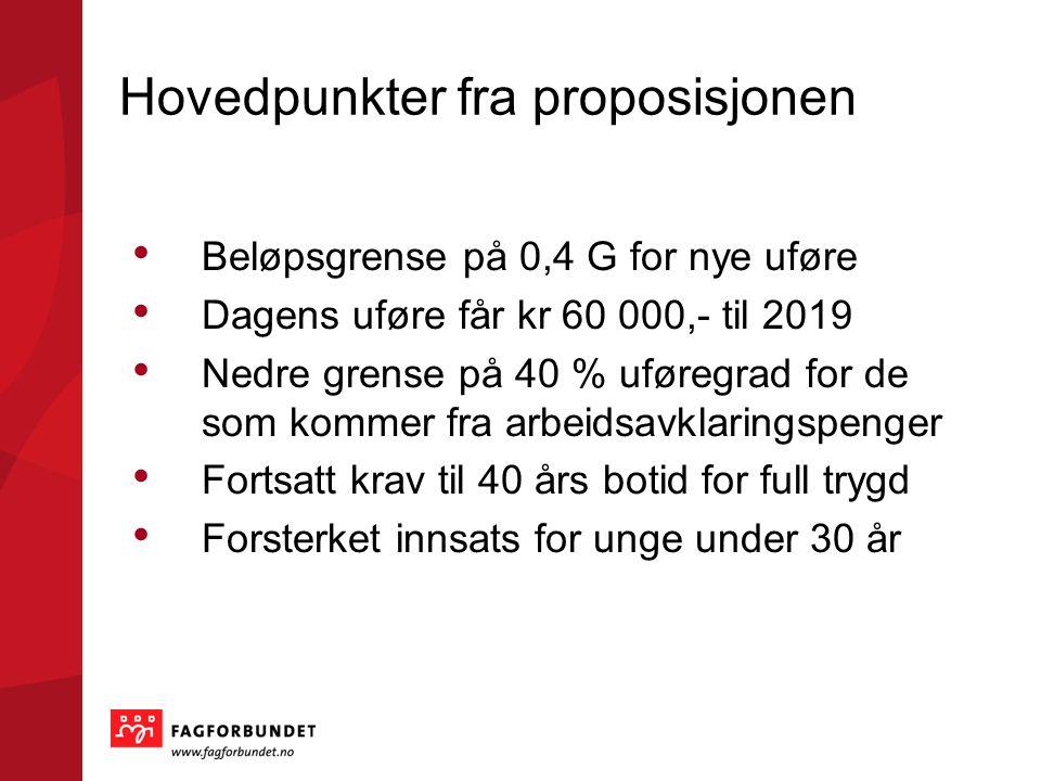 Hovedpunkter fra proposisjonen