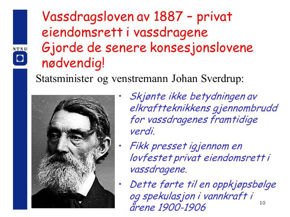 Vassdragsloven av 1887 – privat eiendomsrett i vassdragene Gjorde de senere konsesjonslovene nødvendig!