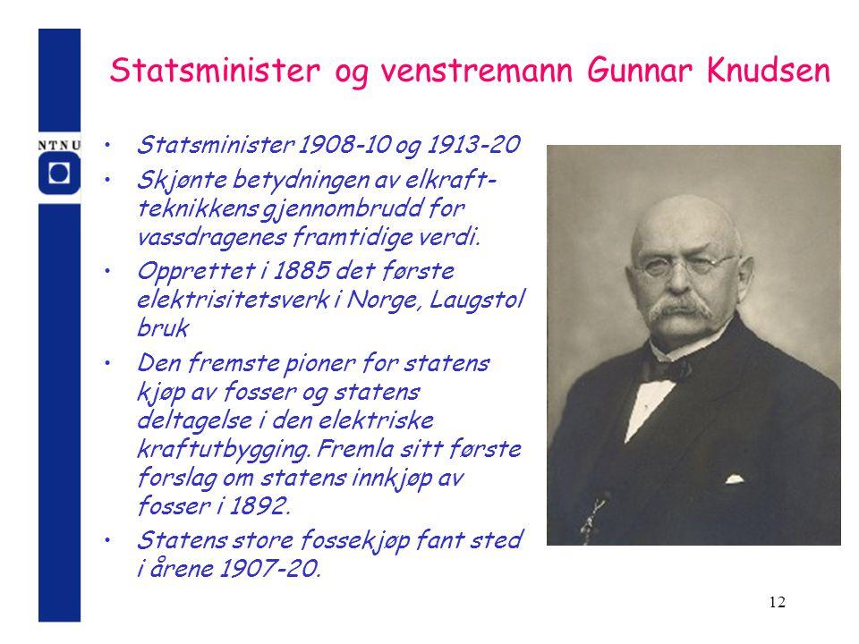 Statsminister og venstremann Gunnar Knudsen