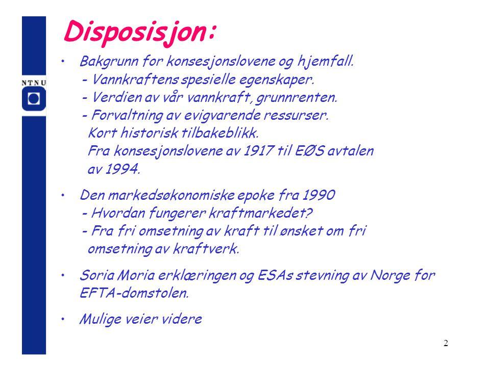 Disposisjon: Bakgrunn for konsesjonslovene og hjemfall.