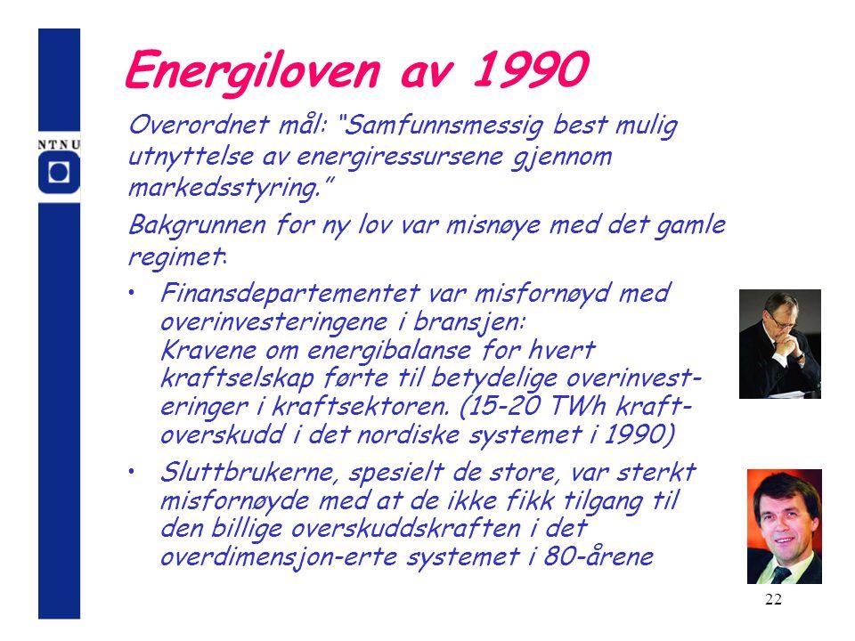 Energiloven av 1990 Overordnet mål: Samfunnsmessig best mulig utnyttelse av energiressursene gjennom markedsstyring.