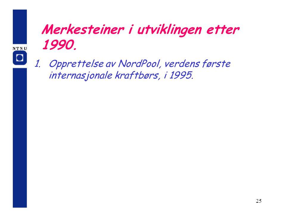 Merkesteiner i utviklingen etter 1990.