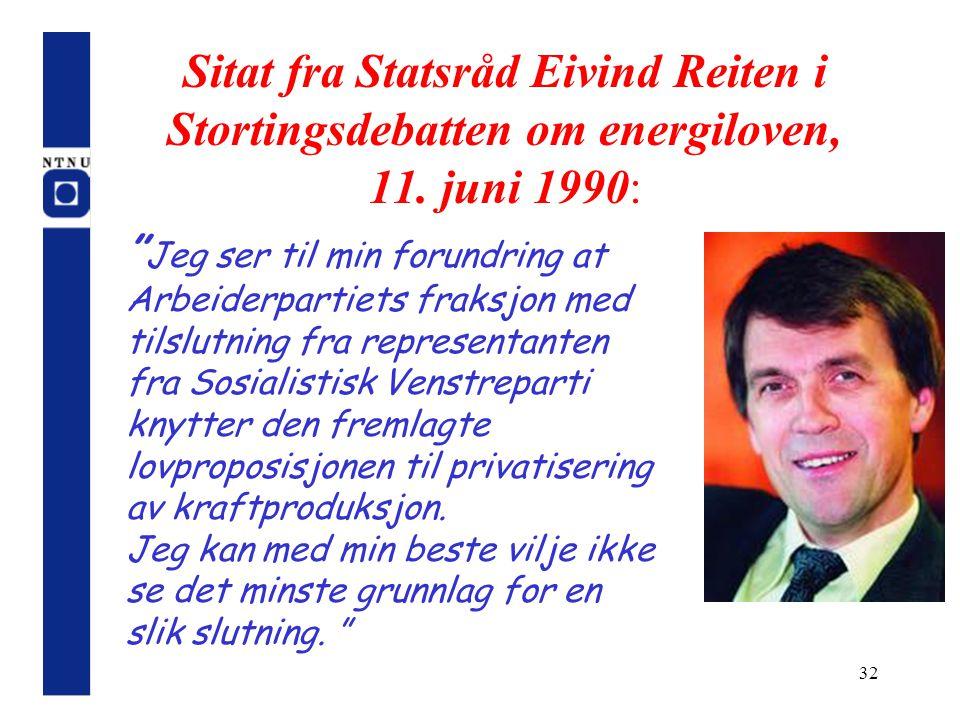 Sitat fra Statsråd Eivind Reiten i Stortingsdebatten om energiloven, 11. juni 1990: