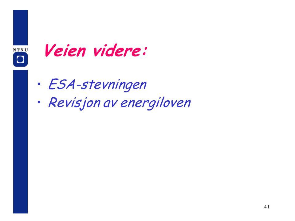 Veien videre: ESA-stevningen Revisjon av energiloven