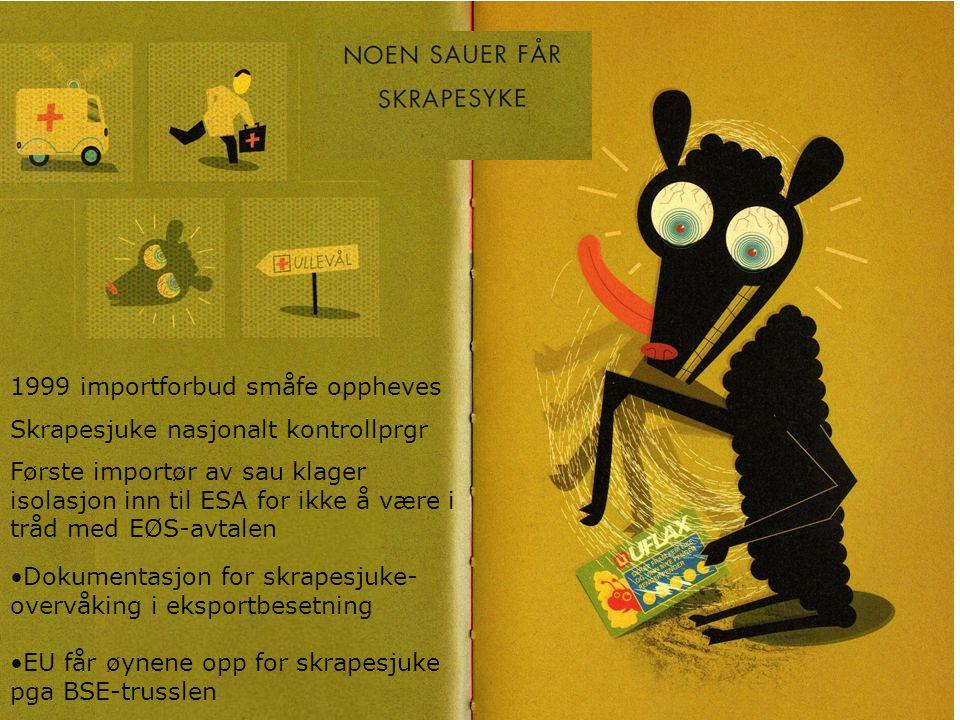 1999 importforbud småfe oppheves Skrapesjuke nasjonalt kontrollprgr