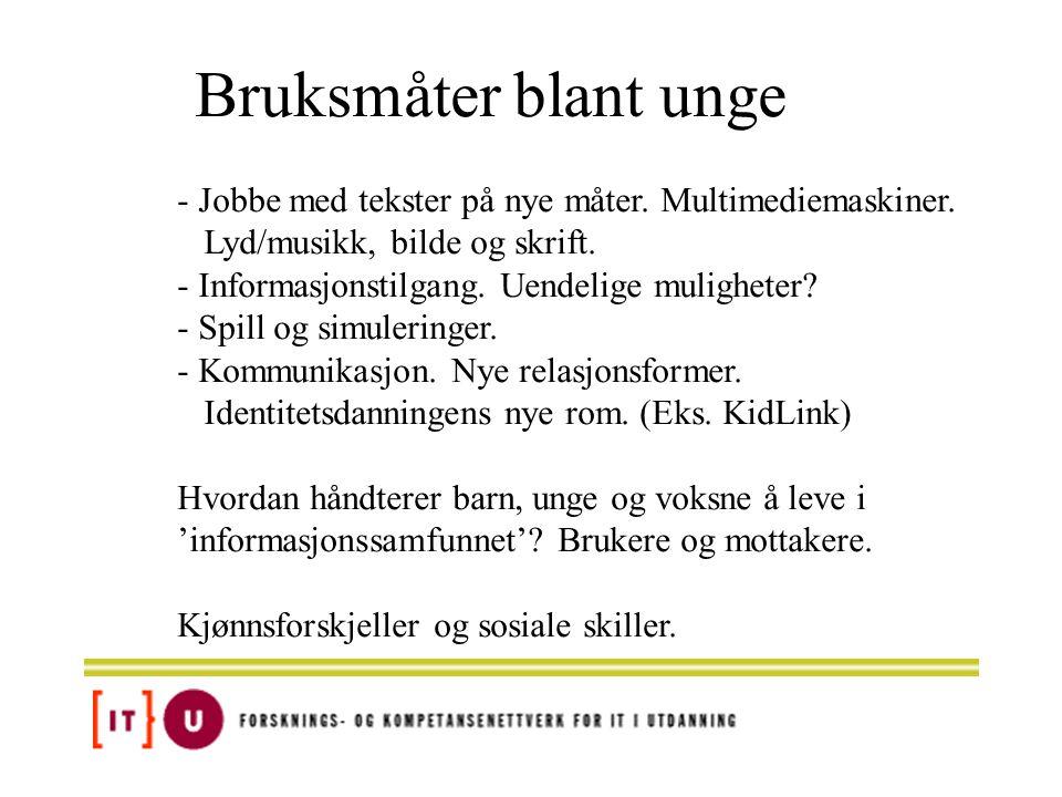 Bruksmåter blant unge - Jobbe med tekster på nye måter. Multimediemaskiner. Lyd/musikk, bilde og skrift.