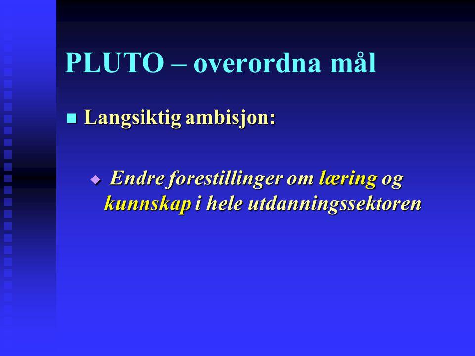 PLUTO – overordna mål Langsiktig ambisjon: