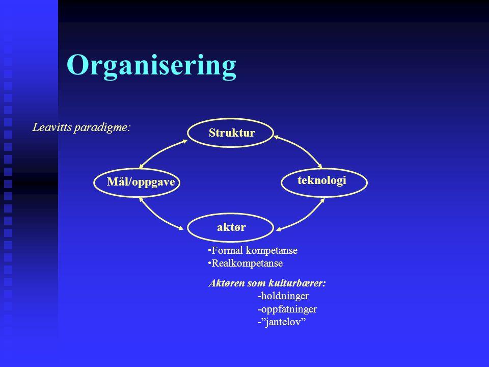 Organisering Leavitts paradigme: Struktur Mål/oppgave teknologi aktør