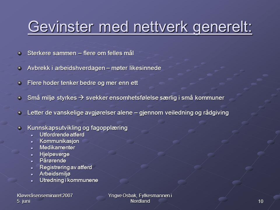 Gevinster med nettverk generelt: