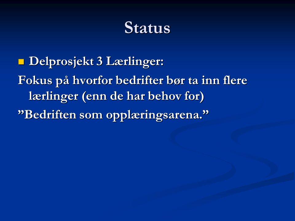 Status Delprosjekt 3 Lærlinger: